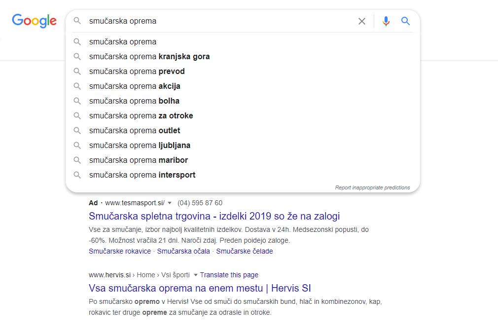 Google vam ponudi dodatne ključne besede v spustnem seznamu