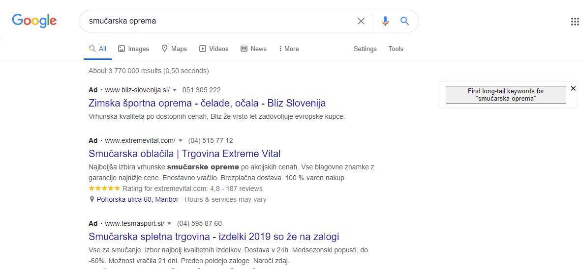 Iskanje v Google-u - Keywords Everywhere vam ponudi dodatne ključne besede