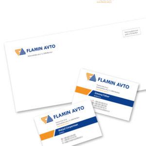 Flamin avto 01 graficno oblikovanje dopis vizitka kuverta