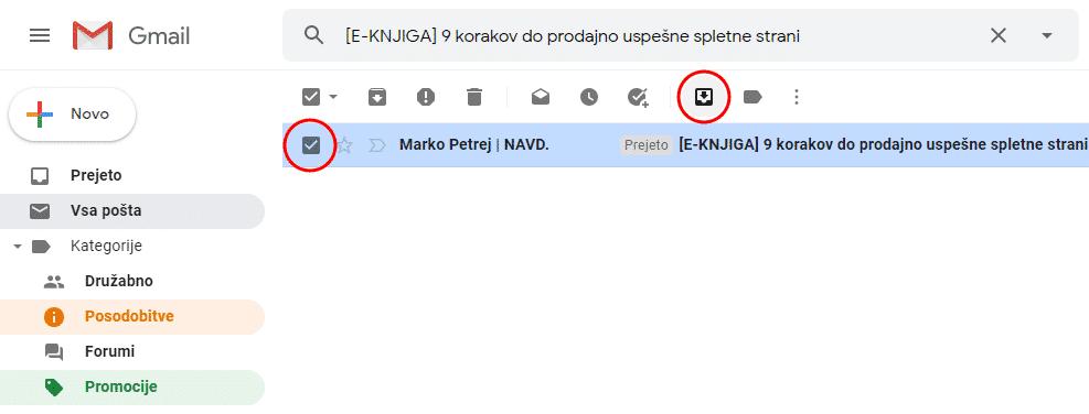 gmail navodila za emailing